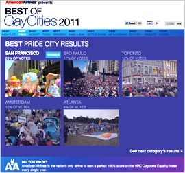 "Gay-Cities American Airlines is the exclusive sponsor of the ""Best of ..."
