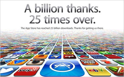 mediapost publications 25 billion apps served apple also touts apple touts app lead almost 20 billion downloads inside 2012 410x255