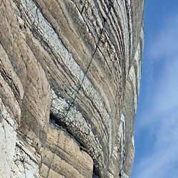 Layered cliff wall