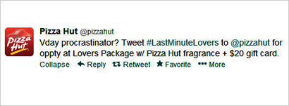 mediapost reports pizza hut tweet last-minute v-day gifts 02122013